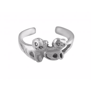 925 Sterling Silver Lovely Pair of Twin Cats Adjustable Pinky Toe Ring - SilverMania925