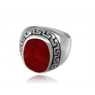 925 Sterling Silver Men's Oval Carnelian Engraved Greek Key Meander Thick Ring - SilverMania925