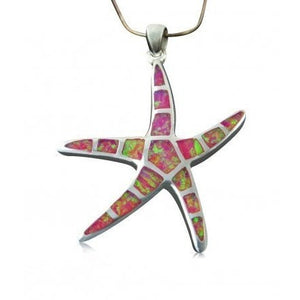 925 Sterling Silver Pink Fire Inlay Opal Sea Life Big Starfish Charm Pendant 7gr - SilverMania925