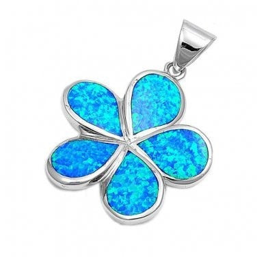 925 Sterling Silver Hawaiian Blue Fire Inlay Opal Plumeria Flower Charm Pendant - SilverMania925