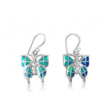 925 Sterling Silver Hawaiian Blue Inlay Fire Opal Butterfly Dangle Earrings Set - SilverMania925