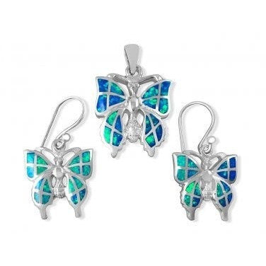 925 Sterling Silver Hawaiian Blue Fire Inlay Opal Butterfly Pendant Dangle Earrings Set - SilverMania925