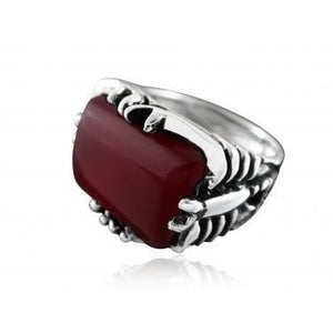 925 Sterling Silver Mens Genuine Carnelian Engraved Big Scorpion Ring - SilverMania925
