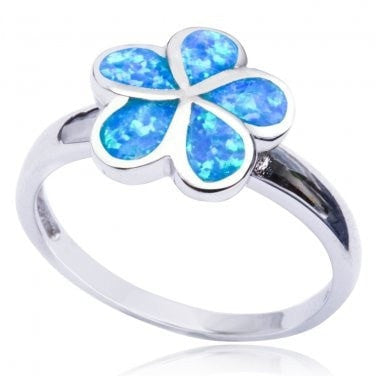 925 Sterling Silver Hawaiian Blue Inlay Fire Opal Plumeria Flower Ring - SilverMania925