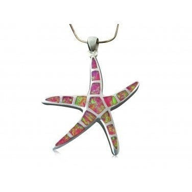 925 Sterling Silver Pink Fire Inlay Opal Sea Life Big Starfish Charm Pendant 5gr - SilverMania925