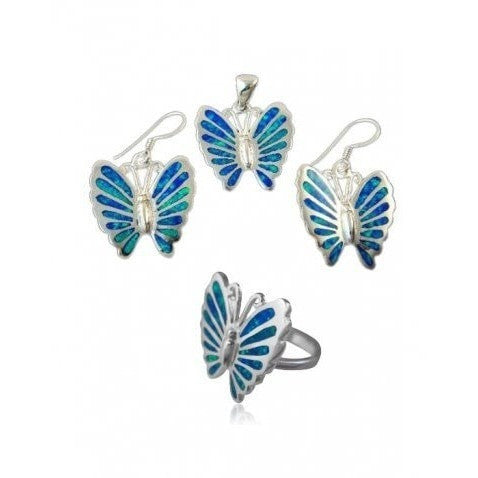 925 Sterling Silver Hawaiian Blue Inlay Fire Opal Butterfly Ring Pendant Dangle Earrings Set - SilverMania925