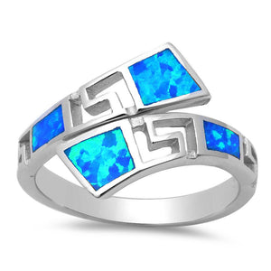925 Sterling Silver Hawaiian Blue Fire Inlay Opal Greek Key Meander Meandros Ring - SilverMania925