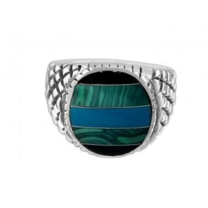 925 Sterling Silver Mens Onyx Malachite Turquoise Checkered Sides Solid Ring - SilverMania925