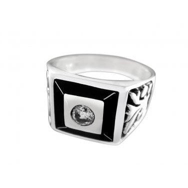 925 Sterling Silver Mens Celtic Irish Engraved Sides Clear Cubic Zirconia CZ Ring - SilverMania925