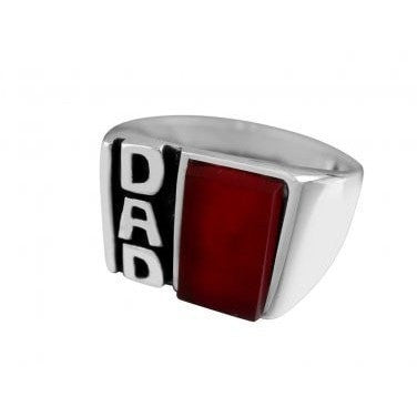 925 Sterling Silver Mens Carnelian DAD Father Day Love Family Thick Solid Ring - SilverMania925