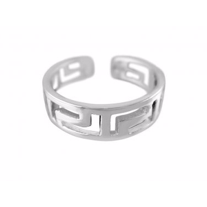 925 Sterling Silver Greek Key Meander Meandros Adjustable Pinky Toe Ring - SilverMania925