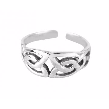 925 Sterling Silver Celtic Irish Triquetra Knot Adjustable Pinky Toe Ring - SilverMania925