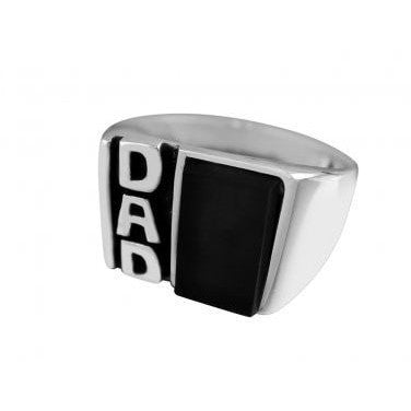 925 Sterling Silver Men's Onyx DAD Father's Day Family Oxidized Ring - SilverMania925