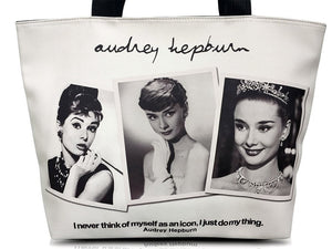 Audrey Hepburn Photo Collage Signature Tote Shoulder Bag Purse Handbag - SilverMania925