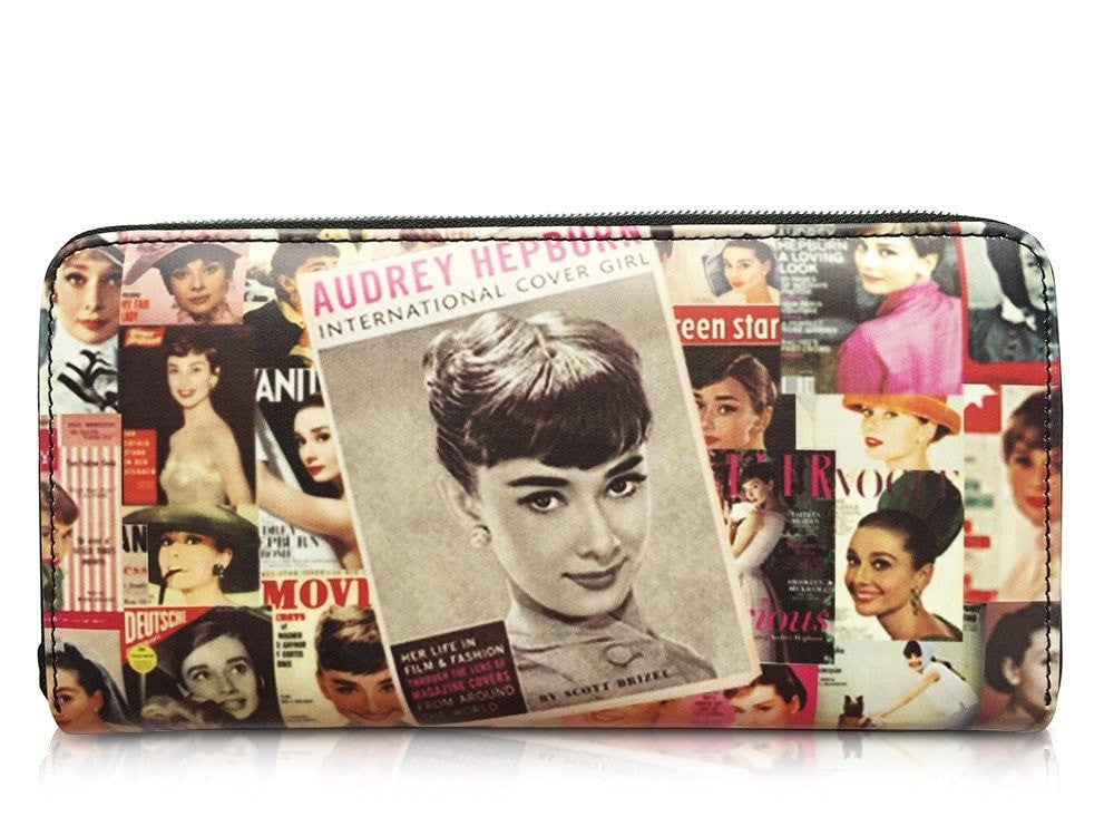 Audrey Hepburn Magazine Cover Girl Credit Card Money ID Holder Clutch Wallet Purse Bag - SilverMania925
