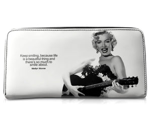 Marilyn Monroe Country Girl Play Guitar Card Money ID Holder Clutch White Wallet Purse Bag - SilverMania925