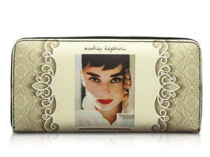 Audrey Hepburn Signature Cinema Icon Rare Money ID Holder Clutch Wallet Purse Bag - SilverMania925