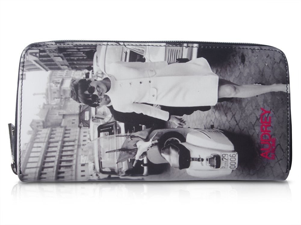 Audrey Hepburn In Rome Retro Rare Picture Money ID Holder Clutch Travel Wallet Purse Bag