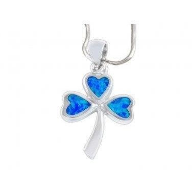 925 Sterling Silver Hawaiian Blue Fire Opal Lucky Celtic Irish Clover Shamrock Charm Pendant - SilverMania925