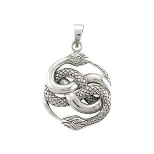 925 Sterling Silver Ouroboros Serpent Snake Infinity Eating Tail Large Charm Pendant - SilverMania925
