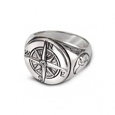 925 Sterling Silver Nautical Magnetic Compass Navigation Crescent Moon Face Ring - SilverMania925