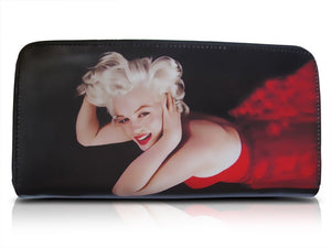 Marilyn Monroe Blonde in Red Dress Money ID Holder Clutch Black Wallet Purse Bag