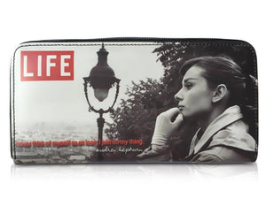 Audrey Hepburn Life Magazine Cover Money ID Holder Clutch Wallet Purse Bag - SilverMania925