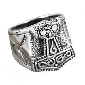 925 Sterling Silver Viking Mjolnir Runes Biker Ring - SilverMania925