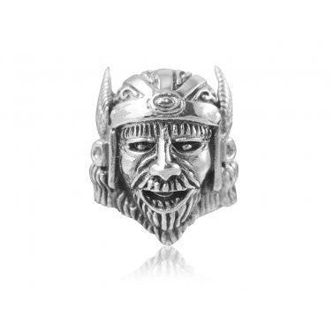 925 Sterling Silver Viking Head Warrior Wings Helmet Biker Heavy Ring - SilverMania925