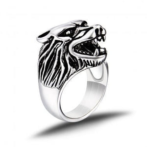 925 Sterling Silver Viking Wolf Head Fenrir Norse Icelandic Thor Biker Heavy Thick Ring - SilverMania925