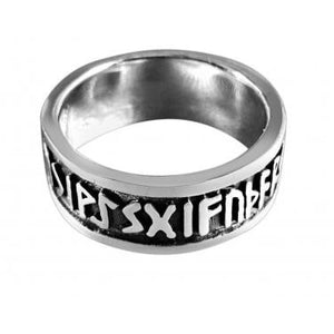 925 Sterling Silver Viking Runes Runic Old Norse Alphabet Futhark Oxidized Unisex Band Ring - SilverMania925