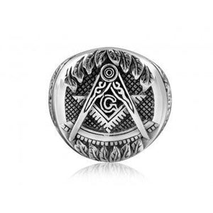 925 Sterling Silver Freemason Masonic Mason Freemasonry Compass Square Ring - SilverMania925