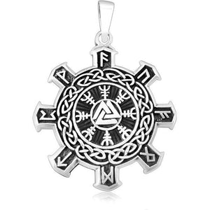 925 Sterling Silver Valknut Vegvisir Warrior Helm of Awe Viking Runes Futhark Celtic Knots Pendant - SilverMania925