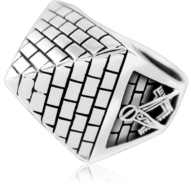 925 Sterling Silver Freemason Masonic Mason Freemasonry Illuminati Square Pyramid Ring - SilverMania925