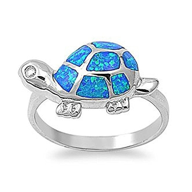 925 Sterling Silver Hawaiian Blue Fire Inlay Opal Lucky Turtle Ring - SilverMania925