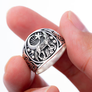 925 Sterling Silver Howling Wolf Wiccan Ring