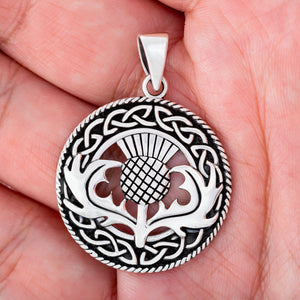 925 Sterling Silver Scottish Thistle Pendant with Celtic Knots