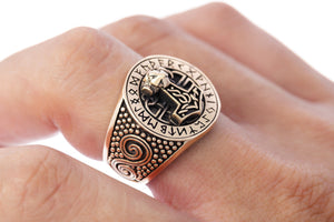 Viking Thor Hammer Runes Ring Handcrafted from Bronze