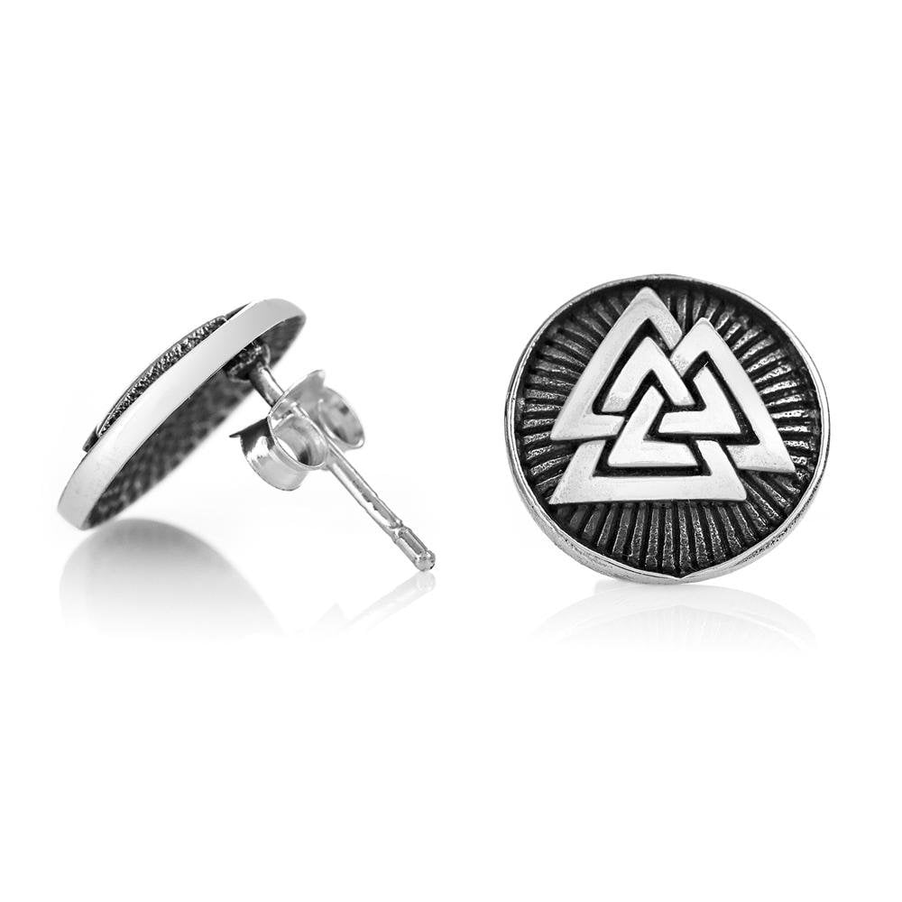 925 Sterling Silver Valknut Odin Viking Norse Runes Runic Stud Earrings Set