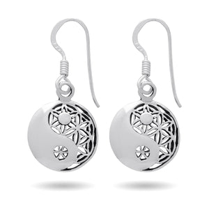 925 Sterling Silver Ying Yang Flower of Life Earrings