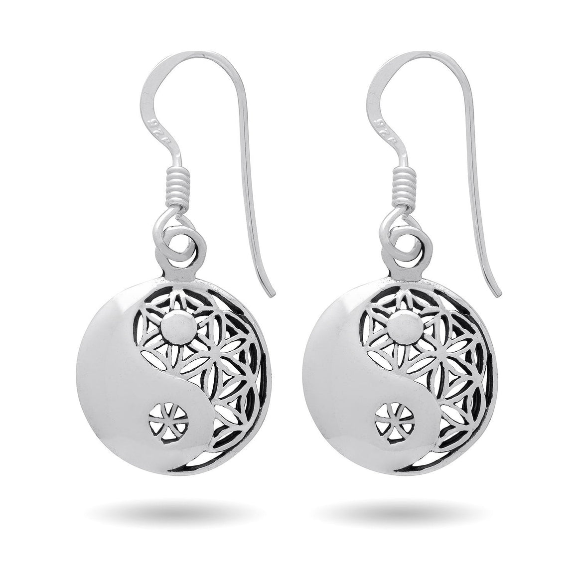925 Sterling Silver Yin Ying Yang Flower of Life Sacred Geometry Spiritual Earrings