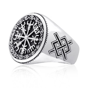 925 Sterling Silver Vegvisir Viking Magical Staves Compass Ring