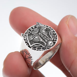 Sterling Silver Viking Ring with Fenrir and Vegvisir