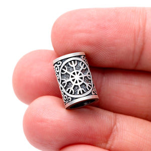 925 Sterling Silver Viking Beard Hair Bead with Helm of Awe