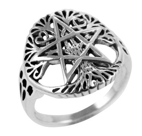 925 Silver Cut Out Ancient Tree Of Life Pentacle Wiccan Pagan Pentagram Ring