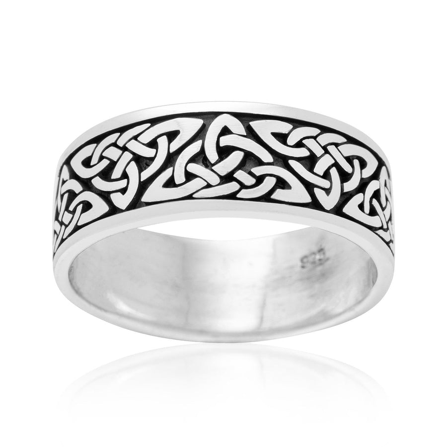 925 Sterling Silver Celtic Triquetra Knot Band Ring - SilverMania925