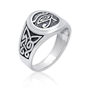 925 Sterling Silver Egypt Egyptian Eye of God Horus Ra Udjat Knotwork Ring