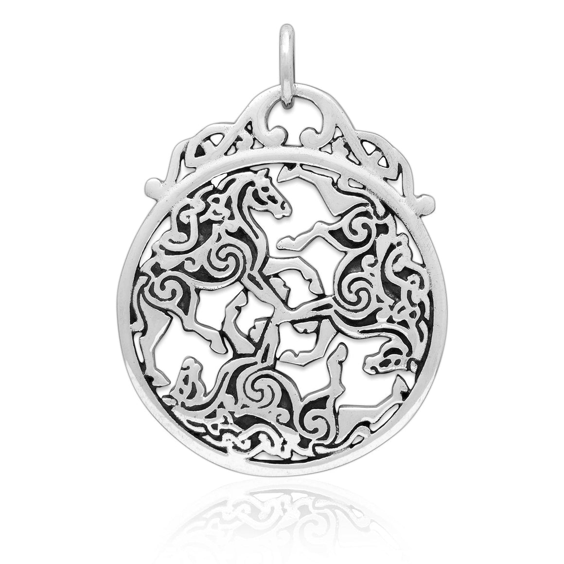 925 Sterling Silver Three Horse Celtic Irish Knot Knotwork Epona Pendant - SilverMania925