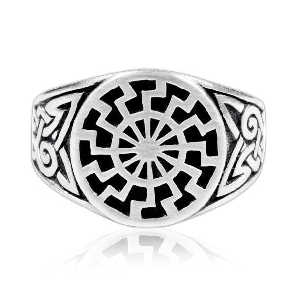 925 Sterling Silver Celtic Knot German Schwarze Sonne Black Sun Sonnenrad Ring - SilverMania925