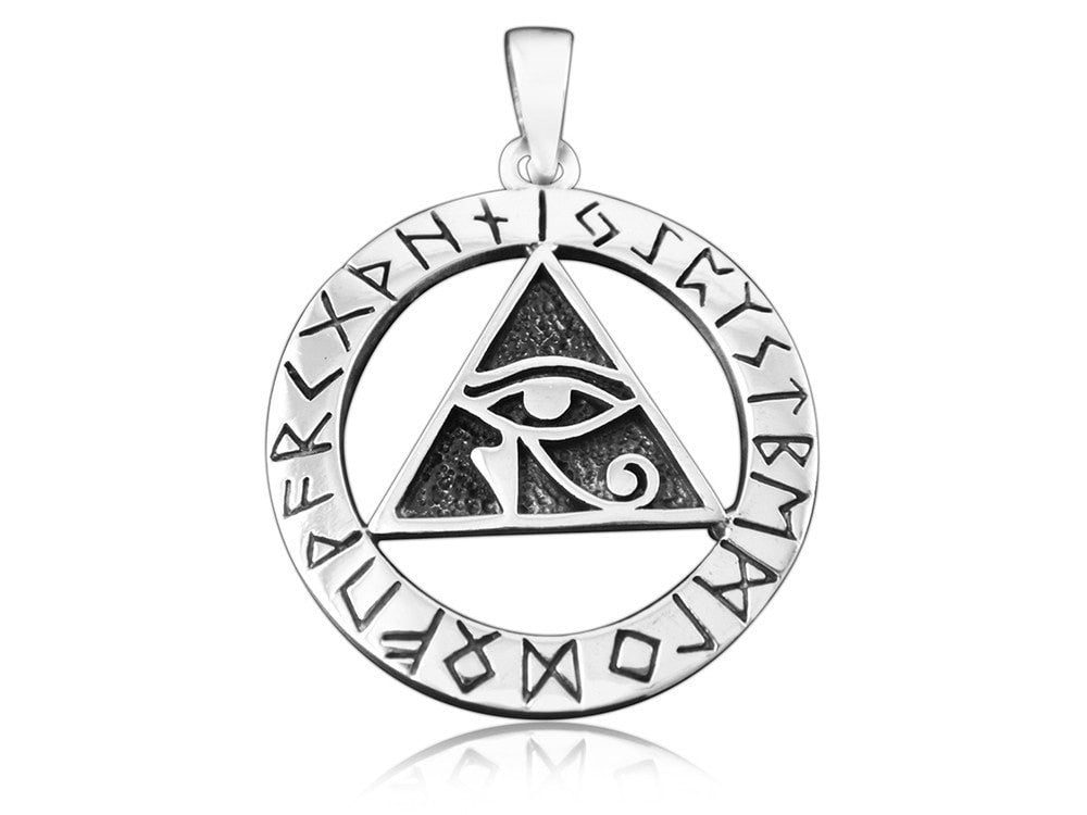 925 Sterling Silver Egyptian Eye of Horus Illuminati Udjat Norse Viking Runes Futhark Pendant